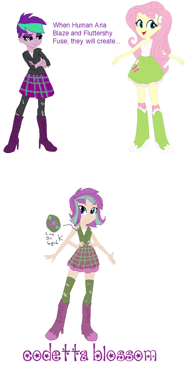 Human Aria and Fluttershy Fusion