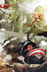 Superman and Batman Vs The Avengers by chris-gooding
