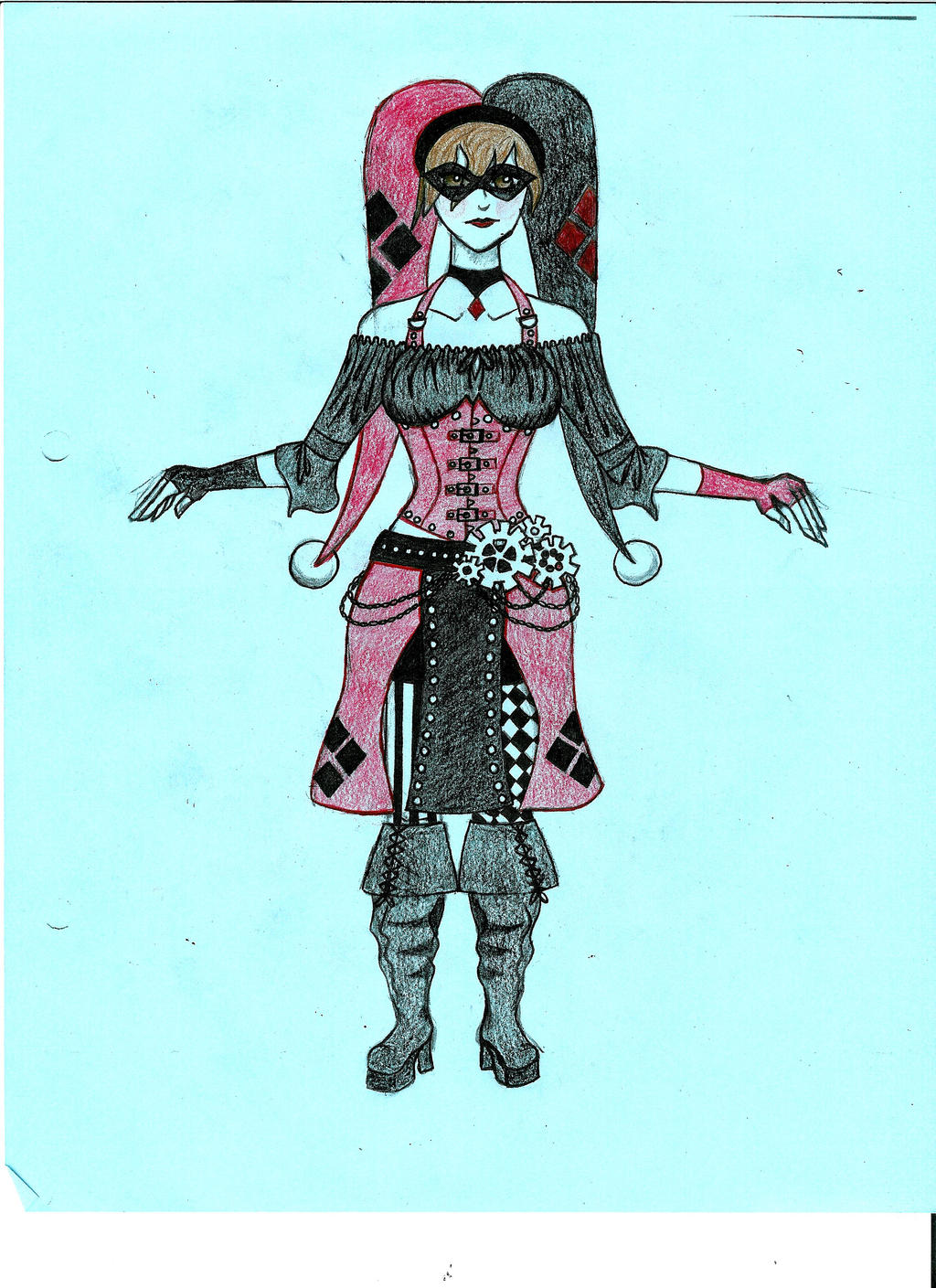 Steampunk Harley Quinn WIP In Color by NoxSatuKeir on DeviantArt