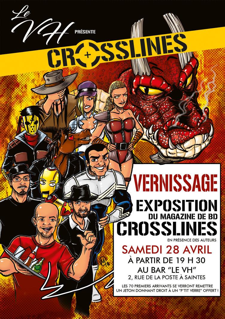 Affiche du vernissage de notre exposition Crosslin by Madd-og