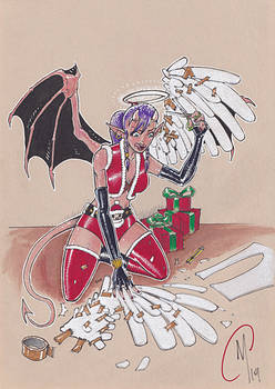 Commission : Devil-girl-cosplaying-as-an-Angel