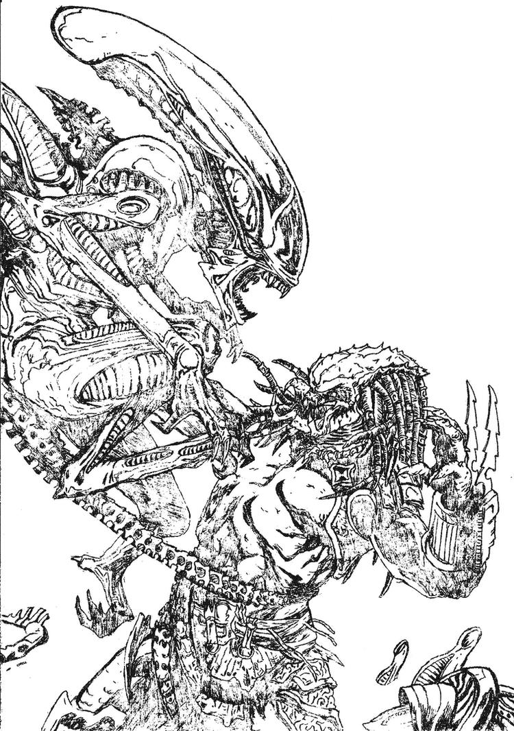 Alien vs Predator Coloring Pages | sorry about the quality but its ... | 1066x750