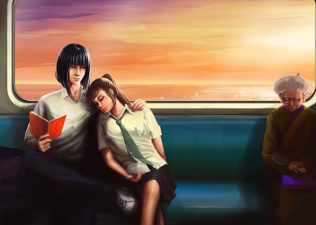 Haku and Chihiro by nimroh