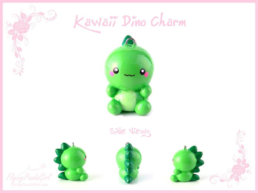Kawaii Dino Charm by FlyingPandaGirl