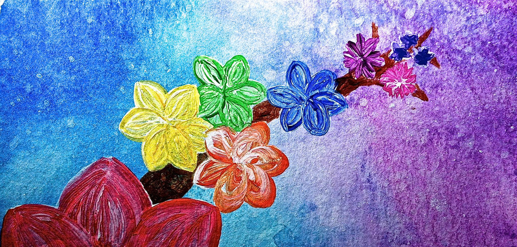 rainbow flowers wallpaper paintings - photo #15