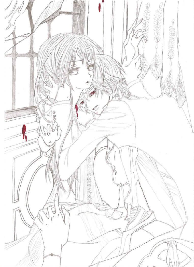 Vampire knight yuuki and kaname by xxyuukixx118 on deviantart for Vampire knight coloring pages