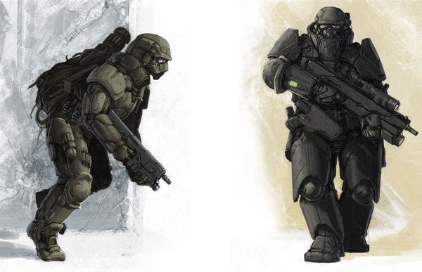 Marine armour concepts by BenWootten