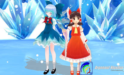Cirno Child Girl And Chibi Reimu Into Snowy Theme by Argonaut-Niuxlius