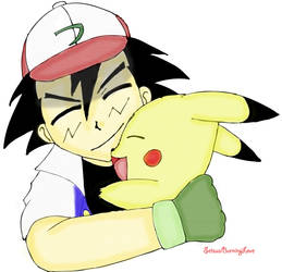 Ash and Pikachu by Setsuaiburninglove