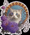 Le chat avec des fleurs by IzARTela