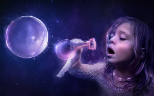 Girl and a planet by lorency