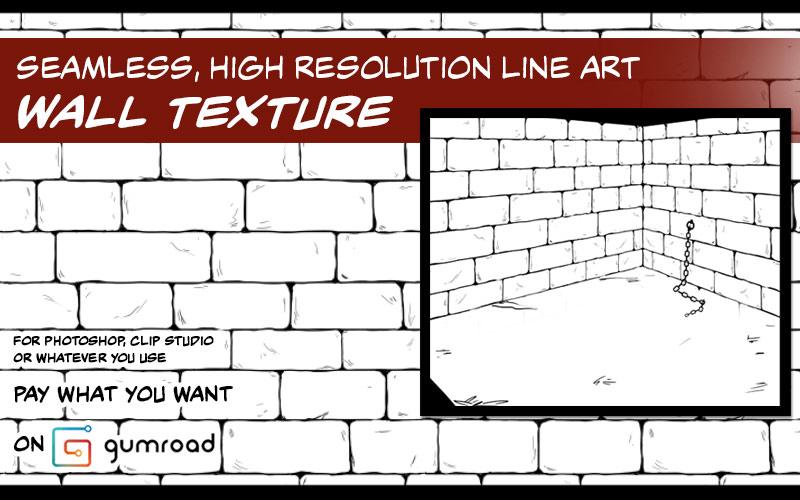 Resource: Seamless Line Art Brick Wall Texture by ElifSiebenpfeiffer