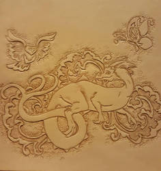 Tooled leather dragon by Camsdragon