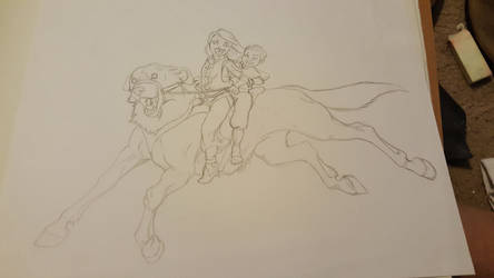 Dog horse ride