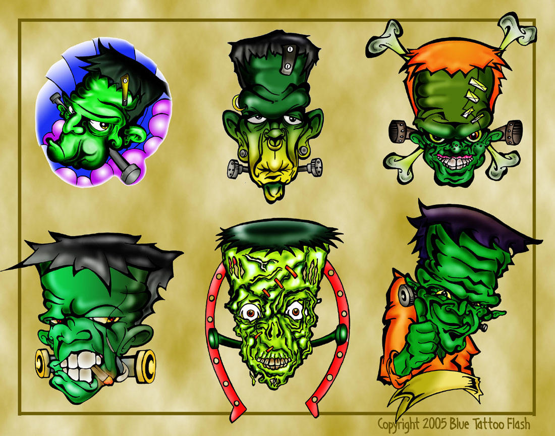 Frankenstein Tattoo Flash 1 by BeeJayDeL