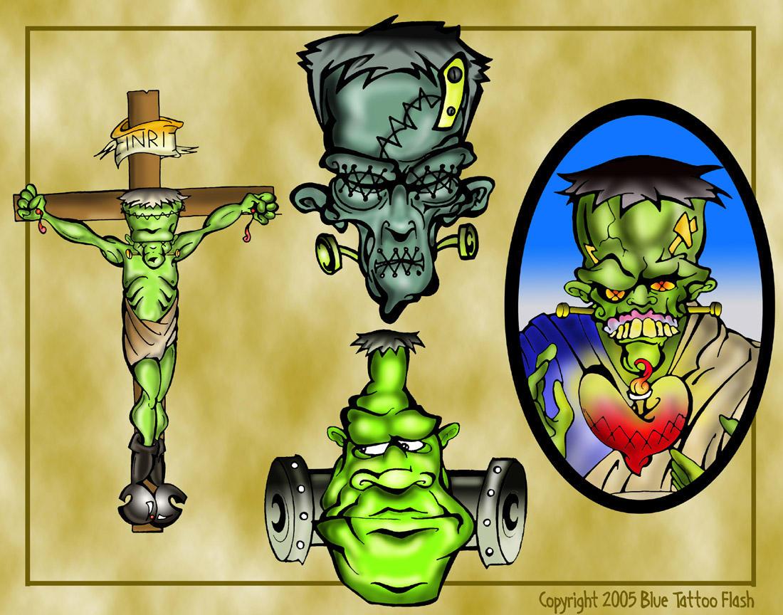 Frankenstein Tattoo Flash 3 by BeeJayDeL on DeviantArt  Frankenstein Ta...