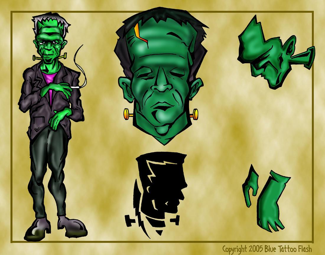 Frankenstein Tattoo Flash 4 by BeeJayDeL on DeviantArt  Frankenstein Ta...