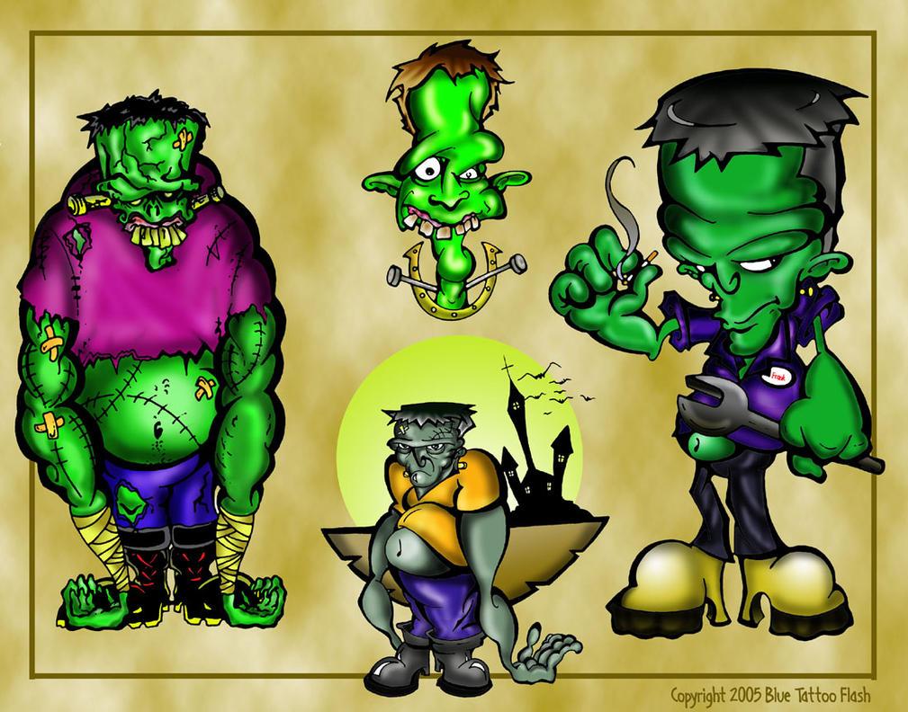 Frankenstein Tattoo Flash 6 by BeeJayDeL on DeviantArt  Frankenstein Ta...