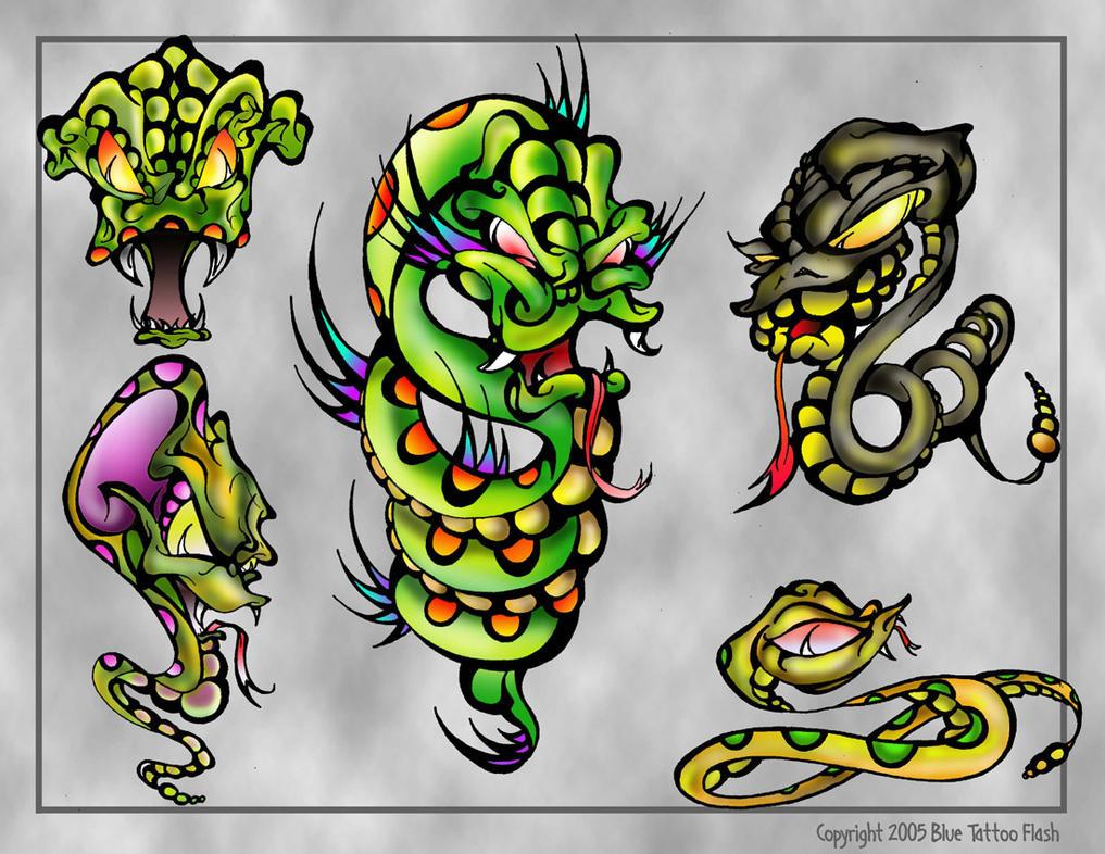 snakes tattoo flash by beejaydel on deviantart