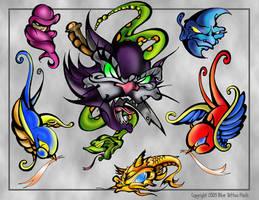 Cat Tattoo Flash Page by BeeJayDeL