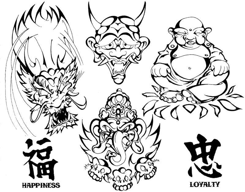 Asian Tattoo Flash 1 by BeeJayDeL