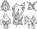 Skulls and Mo Tattoo Flash