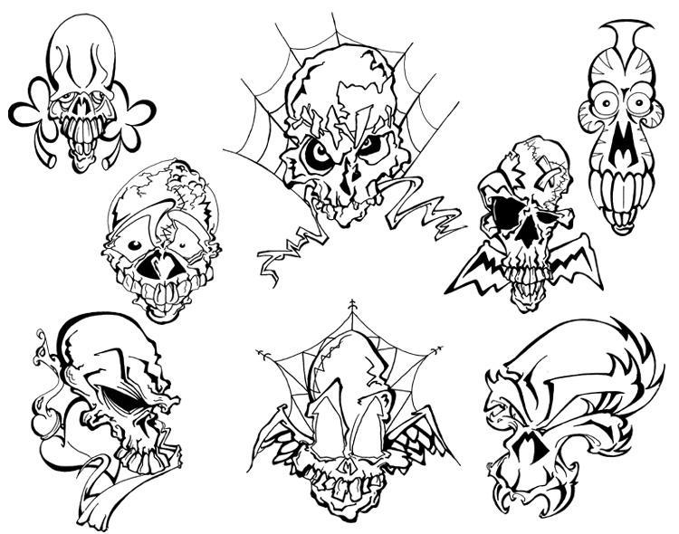 Mo Skulls 2 Tattoo Flash by BeeJayDeL