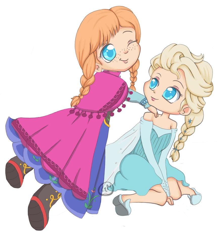 Chibi Anna and Elsa by gigithestar07 on DeviantArt