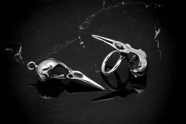 Blackbird Skull Ring and Pendant by DaveRichardsonArt