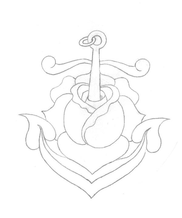 Anchor Tattoo Line Drawing : Anchor rose by tat u on deviantart
