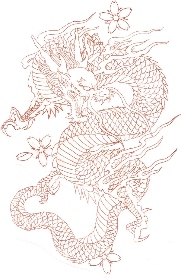 Japanese Tattoo Line Drawing : Japanese dragon tattoo designs gallery zentrader