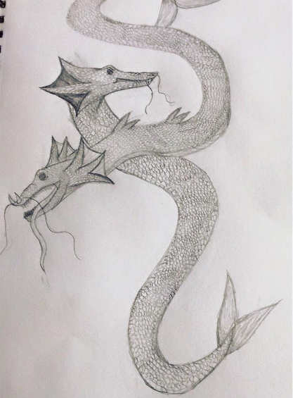 Sea Dragon Sketch by lunawolf33