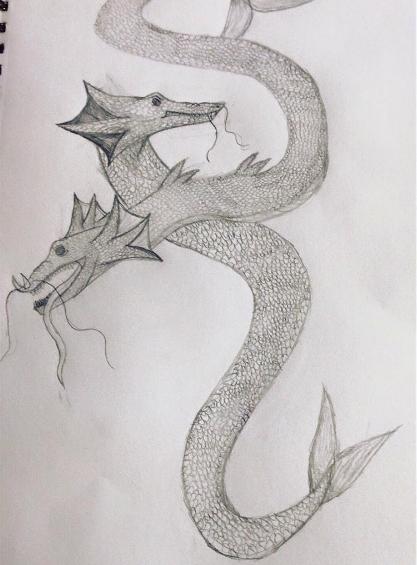 Sea Dragon Sketch by lunawolf33