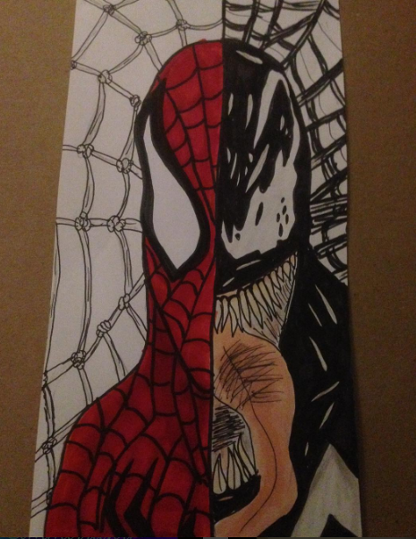 Redraw of Spiderman x Venom by lunawolf33