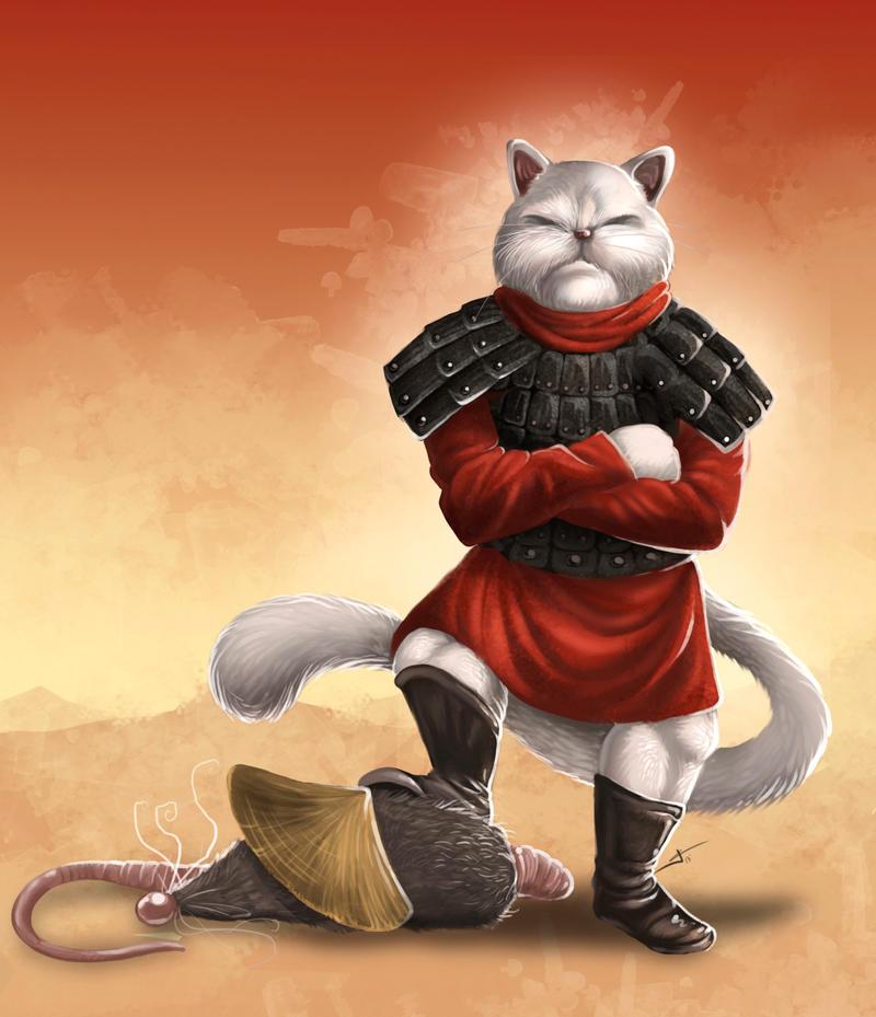 Samurai Cat by valhadar