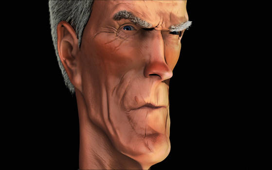 Clint Eastwood Caricature close up