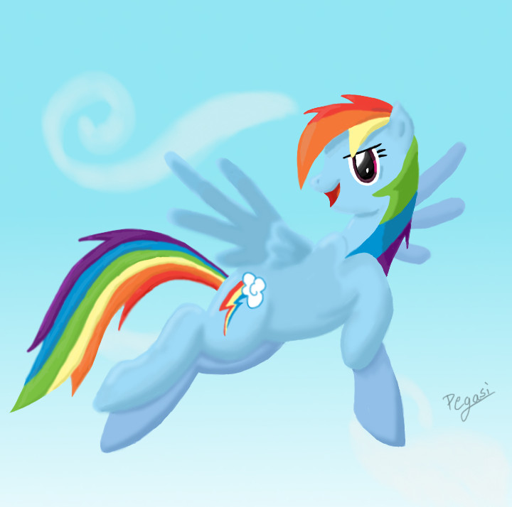Flying Rainbow Dash by Pegasi-pony