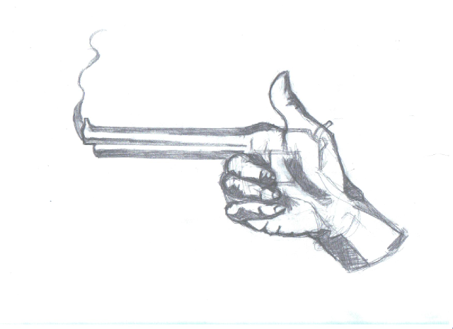 Gun Pencil Drawings Hand Gun Pencil...640
