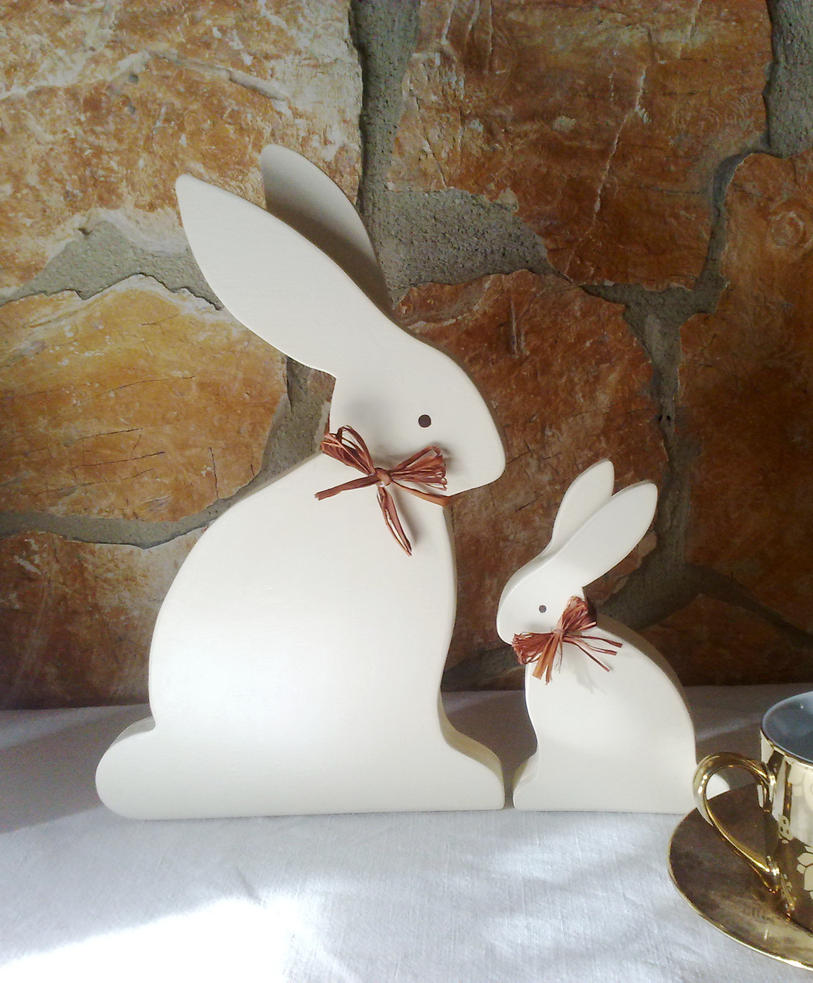 Shabby Chic bunnies by angychan