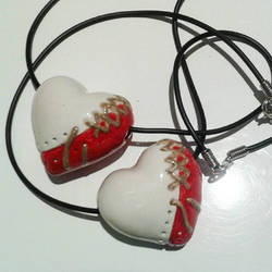 ceramic heart pendants by angychan