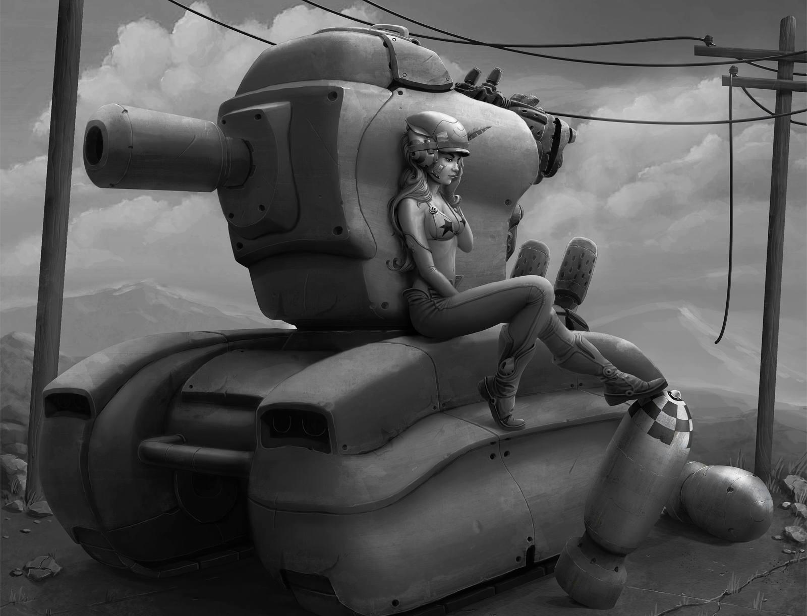 Tank Girl Pepper - greyscale by StMan