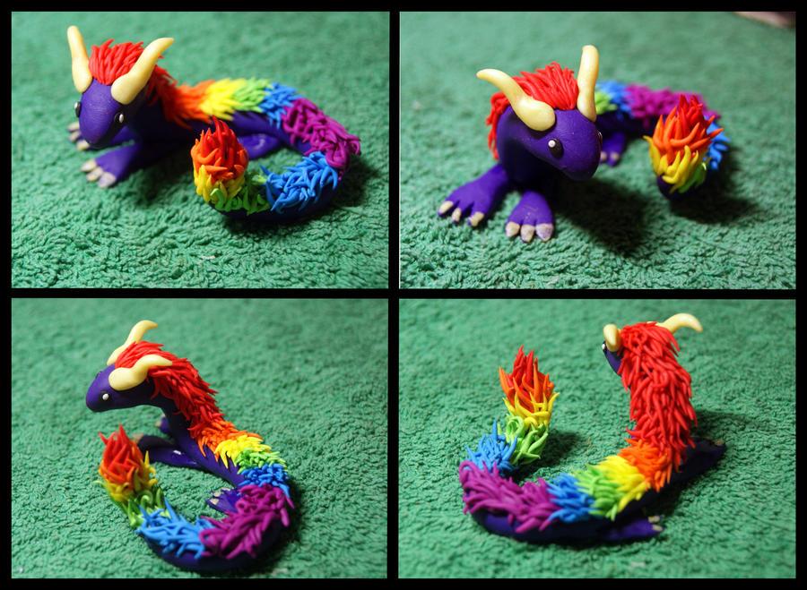 Rainbow Fimo Dragon by inu-chan-free