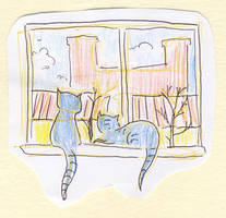 Two cats sitting on the window