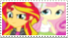 Sunset Shimmer x (human world) Fluttershy - Stamp by Pony-Stamps