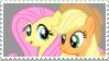 Fluttershy x Applejack - Stamp by Pony-Stamps