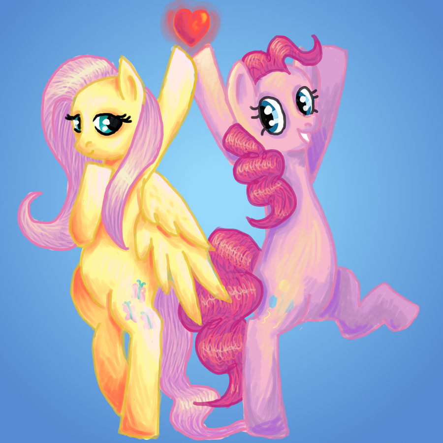 Fluttershy and pinkie pie by ikasama on deviantart