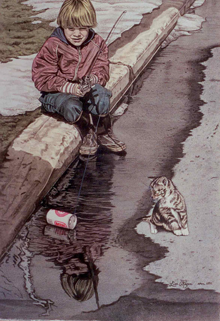 Fishing in a puddle by face reality on deviantart for Puddle of fish