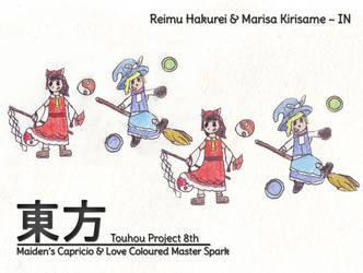 Touhou Imperishable Night 8th - Reimu and Marisa by MrAlinoe