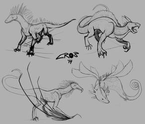 Creature concept sketches by Crowflux