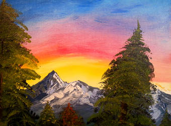 Mountains in a Rainbow Sky by Crowflux